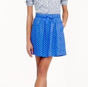J.Crew blue mini white polka dot skirt size 4